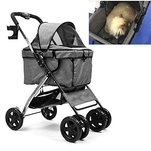 ZRZJBX Wagen FüR Haustiere Tragbar,Der Baldachin Kann Um 180 Grad Verstellt Werden. Es Wird Empfohlen, 13 Kg Zu Laden,Grey (Baldachin Wagen)