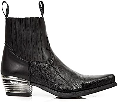 New Rock West Negro Cuero Botas M.7953PT-S3