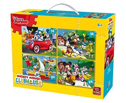 King 5505Disney 4-in-1puzzle Mickey Mouse (12/16/20/pezzi)-4puzzle in una valigia
