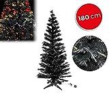 272448 Albero di Natale nero in fibra ottica luminose multicolor 180 cm....