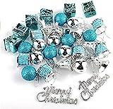 Trayosin Weihnachtsbaum Anhänger Deko,32pcs Weihnachtsbaumschmuck Weihnachtsdekoration (Blau+Silber)