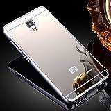 Prevoa ® 丨 Aluminum Bumper Funda PC Back Case para Xiaomi 4 M4 Mi4 5.0 Pulgadas Smartphone - Plata