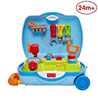 ANIKI TOYS Tool Set Suitcase Pretend Playset Kit with Music/Light, Early Education toys for 2 3 4 5 Years Old Baby Toddler Girls Boys Kids