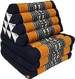 Guru-Shop Cuscino Tailandese, Cuscino Triangolare, Kapok, day bed con 3 Cuscini - Nero/arancione, 30x50x160 cm, Cuscino Thai / 3 Supporti