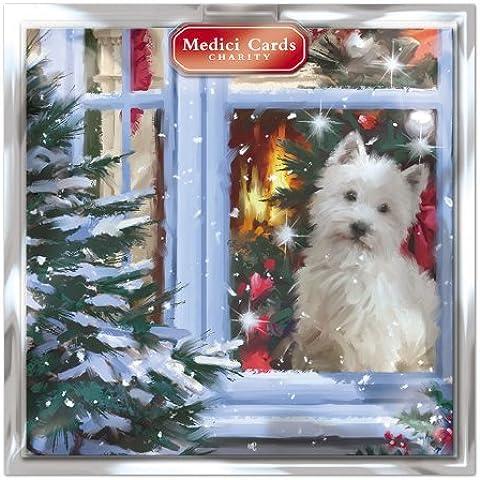 Medici tajetas de postales de Navidad (MED4616) de alimentación Pack de 8 de perro en la para ventana de - en una de modelos de medias y - caridad: Marie Curie de Cáncer de Mama Producto para el, los Parkinsons, CLIC Sargent, Oxfam, botes salvavidas, Macmillan