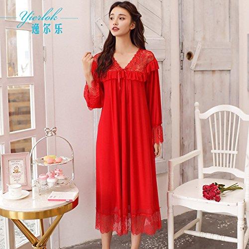 XBR modaier _2018 rotes nachthemd pyjama langärmelige spitzen sexy royal jahr des schicksals, weiblich,lieferung nach einem jahr,f -