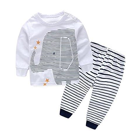 Malloom® Bébé Garçons Vêtements Outfit Impression T-Shirt Tops + Stripe Pantalon Long 1Set (1T,