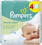 Pampers Natural Clean Baby Wipes - Pack of 4 (256 wipes)