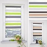 HOMELIA Klemmfix Duorollo, Doppelrollo 3-farbig mit Klemmträger / 120 x 160 grün-grau-weiß / Farben: grün-grau-weiß, braun-beige-weiß
