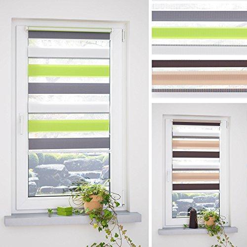 HOMELIA Klemmfix Duorollo, Doppelrollo 3-farbig mit Klemmträger / 060 x 160 grün-grau-weiß / Farben: grün-grau-weiß, braun-beige-weiß