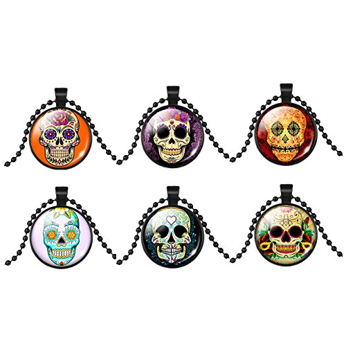 6Pcs Schädel Halsketten Bff Hängende Kristallhalsketten Fantasie Kostüm (Für Halloween Bffs Kostüme)