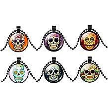 Jiayiqi Flor Gótica De Vidrio Cráneo Cabochon Colgante Collar Cadena Para Halloween