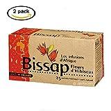 [ INFUSIONS BISSAP 100% NATUREL ] Lot de 2 boîtes d'Infusions de Fleurs d'Hibiscus ou Bissap 100% Naturel [2 x 25 sachets de 1,6g]