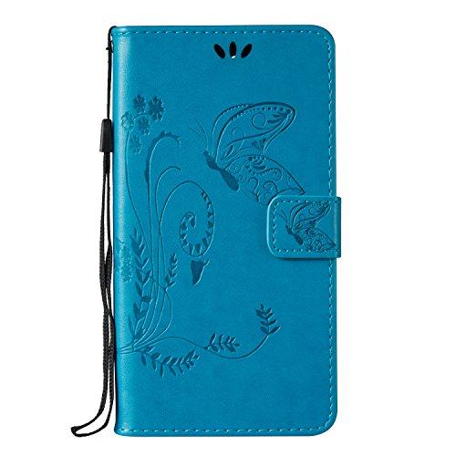 Huawei Honor 5A / Y6 II Hülle, Huawei Honor 5A / Y6 II Case,Cozy Hut Schmetterling Muster Kunstleder Ledertasche Schutzhülle Case Tasche,Bunte Drucken Muster PU Leder Brieftasche Hülle Wallet Case Flip Cover Hüllen Etui Lederhülle mit Standfunktion Kredit Kartenfächer für Huawei Honor 5A / Y6 II (5,5 Zoll) - Blau