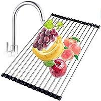Escurreplatos enrollable de acero inoxidable de alta calidad, plegable, versátil, escurridor para fregadero de cocina