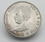 Desconocido Moneda de 5 Pesetas de Plata del Año 1892 Durante La Epoca de Alfonso XIII. Moneda Coleccionable. Moneda Antigua.