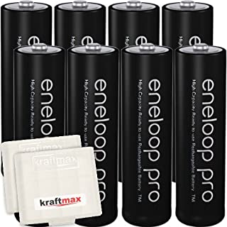 Kraftmax 8er-Pack Panasonic Eneloop PRO XX AA / Mignon Akkus - Neueste Generation - 2550 mAh(min 2500 mAh) Hochleistungs Akku Batterien in Kraftmax Akkubox V5, 8er Pack