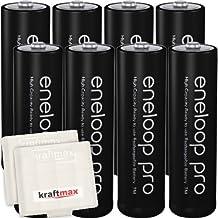 Kraftmax 8er-Pack Panasonic Eneloop PRO XX AA / Mignon Akkus - Neueste Generation - 2550 mAh Hochleistungs Akku Batterien in Kraftmax Akkubox V5, 8er Pack