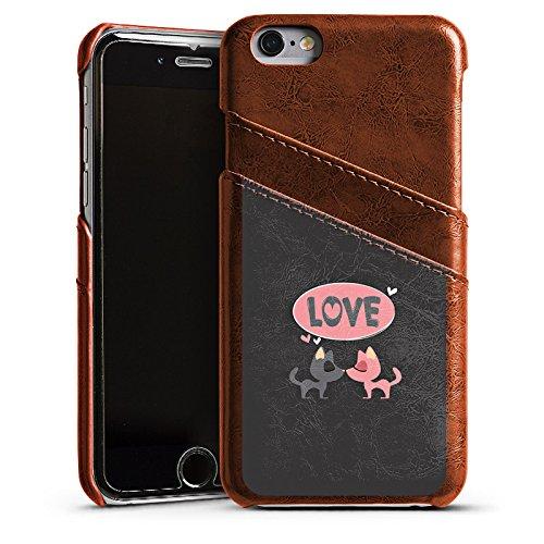 Apple iPhone 5 Housse Étui Protection Coque Amour Phrase Embrasser Étui en cuir marron