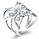 Styleziel Damen Ring Silber Schmetterling mit kleinen Kristallen Größe verstellbar Eyecatcher Neu 2179
