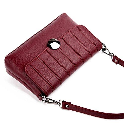 Frauen Art Und Weise Beiläufige Schultertasche Messenger Bag Aus Weichem Leder Kleine Quadratische Tasche Redwine