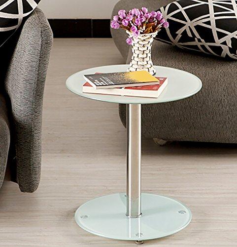 CLOTHES- Table basse en verre trempé Table de petit déjeuner (Couleur : Blanc)
