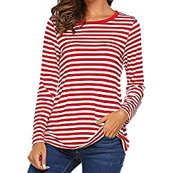 Vectry Camiseta Mujer Verano Camiseta De Rayas Mujer Camiseta Manga Larga NiñA Camiseta Deporte Mujer Blusas Rayas Camiseta Rojo