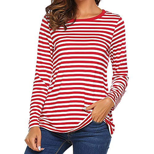 STRIR Camiseta para Mujer,Mujeres Originales Manga Larga Cuello Redondo Camiseta Básica Rayas Blusa Túnica Tops (L, Rojo)