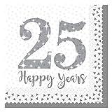 Neu: 16 Servietten * 25 Jahre * für die Silberhochzeit | Jubiläum Silber Glitter Hochzeit Heirat fünfundzwanzig Feier Motto Napkins
