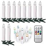 SunJas 10/20/30 er Weihnachten Kerzen RGB, kabellose Farbwechsel Weihnachtskerzen mit Fernbedienung, Weihnachtsbeleuchtung, LED Kerzen in 3 verscheidene Blinkeffekt, für Weihnachtsbaum