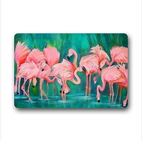 Aeykis Door Mats pink Flamingos,Love Heart Flamingos,Love Flamingo Design nonwoven Fabric top Custom Doormat,Indoor/OutdoorFloor Mat 23.6 (L) x 15.7 (W) inches by