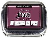 Magnetische Poesie – Little Box of Faith – Wörter für Kühlschrank – schreiben Sie Gedichte und Buchstaben auf den Kühlschrank.