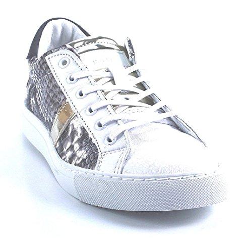 D.a.t.e. NEWMAN LOW-19 Sneakers Femme Cuir Blanc/gris Blanc - Blanc