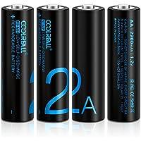 Batterie Ricaricabili,Coolreall Pile Ricaricabili AA Ni-MH(2200mAh,1,2V Confezione da 4 Pezzi)