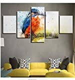 jishii 5 Piece Canvas Painting Animal Common Kingfisher Room Decor Print Poster Wall Art-A