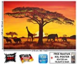 Papel pintado fotográfico, Puesta del Sol en África - African Sunset - Imagen mural Safari en África - decoración mural XXL by GREAT ART (210 x 140 cm