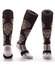Samson Hosiery® Cristal estampado de calavera Funky Novedad Moda Regalo Calcetines de fútbol RUGBY deportes y Casual rodilla alta calcetines para hombres mujeres niños unisex