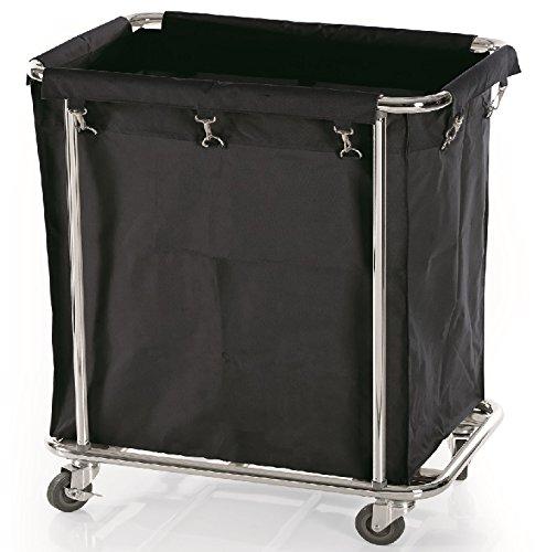 Wäschewagen, verchromt, mit schwarzem Wäschesack / 65 x 45 x 84 cm