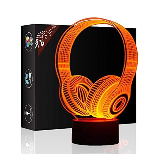 Écouteurs Illusion 3D lampe cadeau d'anniversaire de nuit à côté table, Jawell 7 couleurs Auto changement tactile de décoration de bureau cadeau de Noël avec acrylique plat et base ABS et câble USB