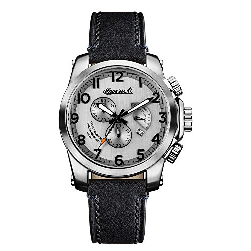 Ingersoll Men\'s The Manning Quartz Watch with Silber Dial andSchwarz Leather Strap I03002