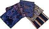 Kissing U Men's Floral Paisley Pattern Pocket Square Taschentuch Set Gentleman Style Suit Zubehör (Packung mit 5) (Set 3)