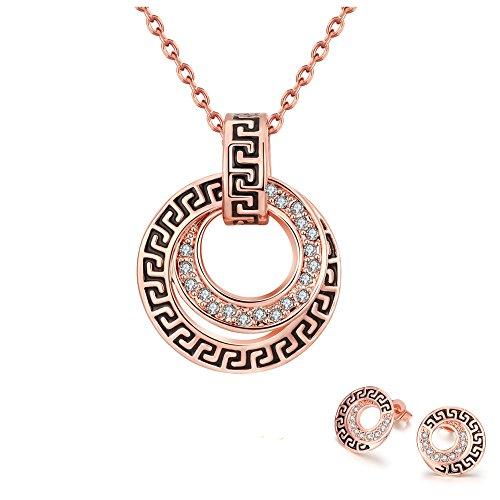 Styleziel Damen Schmuckset Halskette Ohrringe Stecker 18K Rotgold pl Scheibe mit Muster und Kristallen 47cm 1803