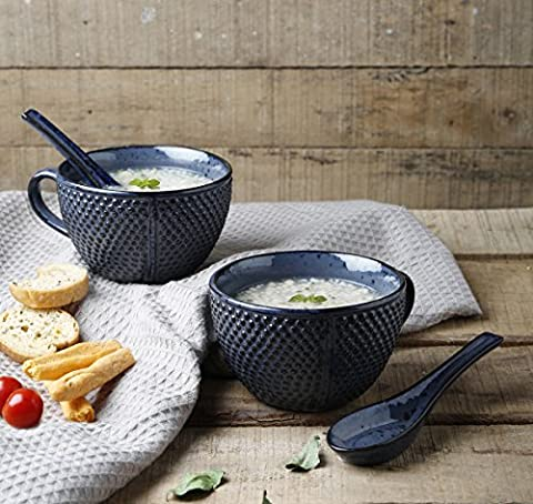 Ceramic Bowls with handle for Soup Supper Noodles Cereal Salad Salsa Pasta Snacks Set of 2 Handcrafted with Spoon Mug Cup Kitchen Tabletop Serveware