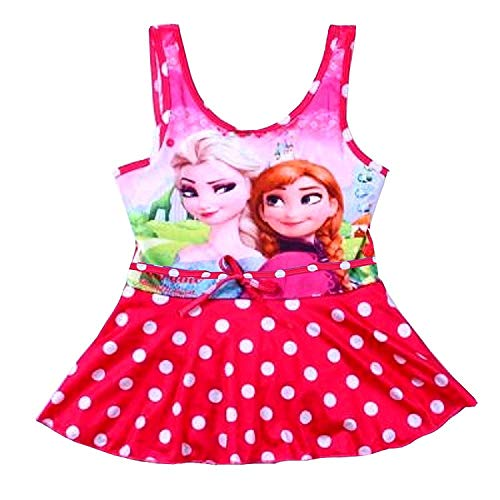 Kostüm Röcke Dot Mit Polka - Größe 110-5-6 Jahre - Badeanzüge - ELSA & Anna - Geführt für Mädchen - Farbe Fuchsia - Polka Dot mit Rock