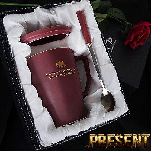 Yomiokla Frosted mugs tazones de cerámica con una cuchara para cubrir oficina...