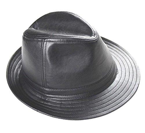 Halloween Hüte Benutzerdefinierte (XY Fancy Herren Leder Kappe Herbst und Winter Hut Trilby Schwarz,)