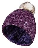 HEAT HOLDERS - Damen bunt Muster Winter Outdoor Fleece warm wintermütze/Beanie mütze mit Pompon bommel in 7 Farben (One Size, Purple)