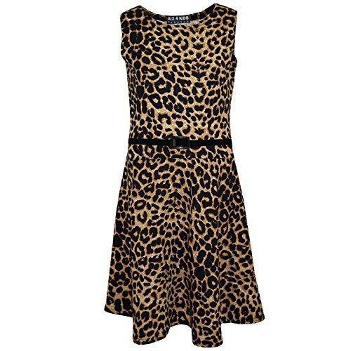 A2Z 4 Kids® Kinder Mädchen Skater Kleid Leopard Aufdruck Sommer Party Tanz Sun Kleides Alter 7 8 9 10 11 12 13 Jahre (Leopard Print Skater Dress, 11-12 Jahre (146-152))