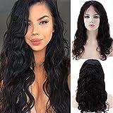 """Perruque Femme Vrai Cheveux Bresilien 100% Cheveux Humains Naturels Ondulé - Lace Front Frontal Wig Naturel Human Hair (Densité: 130%, Longueur: 22""""/55cm)"""