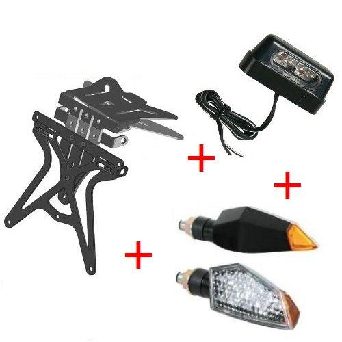 Kit für Motorrad Kennzeichenhalter UNIVERSAL + 2Pfeile + Kennzeichenbeleuchtung zugelassen Lampa Moto Guzzi Nevada 750Adler schwarz 2009-2017 (Kennzeichenhalter Adler)